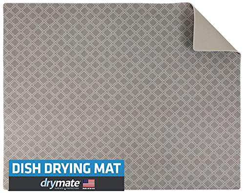 """Drymate Premium Dish Drying Mat, Low-Profile, Polyester, XL Size (19"""" x 24""""), Kitchen Drying Pad – Absorbent/Waterproof – Machine Washable (Made in the USA) (Taupe Diamond Squares)"""