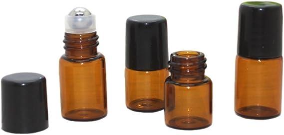 pour Huile Essentielle 1 ml Parfum Rechargeable Flacon Roll On en Verre Massage Aromath/érapie SDENSHI 20pcs Flacons Ambr/é Roll On Vide