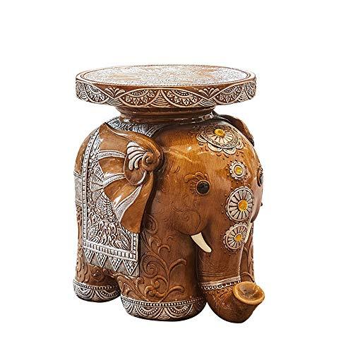 Tierhocker Elefant Für Zuhause Schlafzimmer Wohnzimmer/Topfgestell Indoor/Beistelltisch Sofa Seite/Hand geschnitzten Thai Stil Elefanten hocker/Harz, Khaki, 31 cm * 24 cm * 31 cm