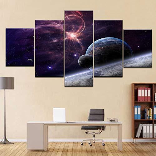 zxddzl SpaceX Fanstore Star modern 5 Panel Wall Poster Leinwand Kunst Malerei Für Wohnzimmer Dekoration