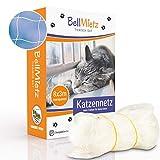 BellMietz Katzennetz für Balkon & Fenster (durchsichtig) | Extragroßes 8x3m Katzenschutz-Netz ohne Bohren | Balkonschutz Inkl. 25m Befestigungsseil | Balkonnetz besonders transparent & sicher