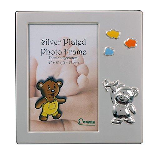 EverGreen - Cornice portafoto placcata in Argento antiossidante, per Bambini, con Aeroplano, 10 x 15 cm, Colore: Argento