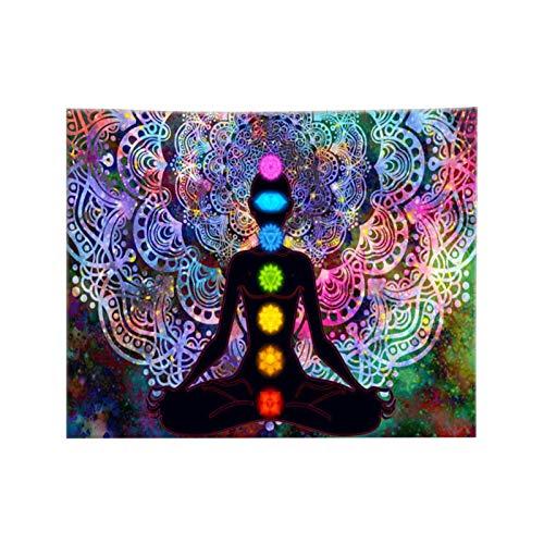Tapiz de pared de siete chakras, yoga, meditación, colgante de pared, balcón transparente, estampado de algodón hecho a mano, arte de yoga, decoración para el hogar, dormitorio, sala de estar