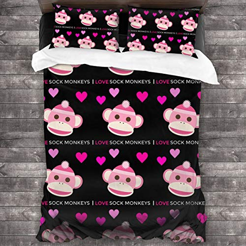 DoubleHappy I Love Sock Monkeys Comforter 3 Pcs Bedding Sets Quilt Cover Pillowcase 86 X70 Inches