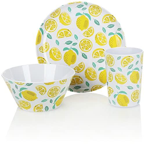 com-four® Juego de vajilla de 3 Piezas - vajilla Reutilizable, Reutilizable de melamina - Tazas, Cuencos y Platos con un diseño Veraniego (3 Piezas - Limones)
