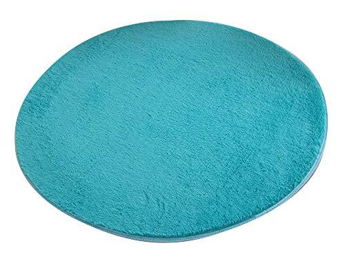 AnyuA Alfombras,Redonda Alfombra de Piso para Sala de Estar,Baño y Dormitrio Cojín Silla Azul Cielo (160 cm)