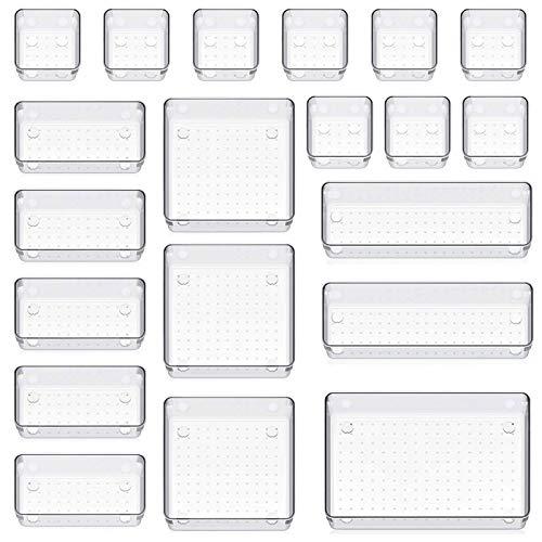 ZPONEED 20 Stücke Schubladen Veranstalter, Kunststoff Schubladen Ordnungssystem, Schubladen Organizer Schubladeneinsatz Tablett Aufbewahrungsbox, für Schlafzimmer Büro Küche Schreibtisch Kosmetik
