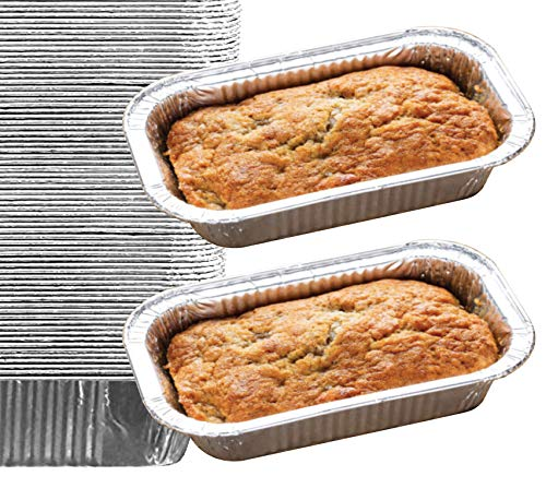 65 Pack – Aluminum Loaf Pans, Bread Pans, Meatloaf Pans l Disposable Cake Pan, Foil Loaf Pans l Top choice Tin Pans - Standard Size, 2 Pounds, 2LB - Outside measurements: 8.5' X 4.5' X 2.5'