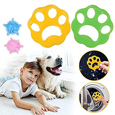 JOYXEON 2pcs Pet Hair Remover for Laundry, Washing Machine Hair Catcher, Pet Fur Remover Catcher for Dogs/Cats/Animal Hair Clothes Bedding Washer Dryer, with 2 Pcs Washing Balls- Anti-entanglement