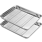 Stainless Steel Baking Sheets with Rack, HKJ Chef Cookie Sheets and Nonstick Cooling Rack & Baking Pans for Oven & Toaster Oven Tray Pans, Rectangle Size 12.5L x 10W x 1H inch & Non Toxic & Healthy