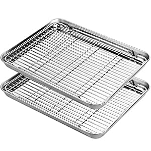 HKJ Chef Stainless Steel Baking Sheets with Cooling Rack