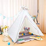ALPHA HOME Teepee Tent for Kids Canvas Childs Play Teepee Tent Indoor & Outdoor with Carry Bag - 58' x 58' x 56'