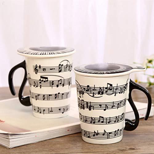 Erjialiu Kaffeetasse 3D Musik Symbol Tasse Becher Keramik Becher Büro Tasse Geburtstagsgeschenk Kaffee Teetasse Dekoration Home Office Drink Geschenk,Stil 02,301-400 ml