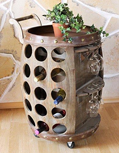 DanDiBo Weinregal Holz Weinfass Fass Servierwagen mit Rollen 1499 72 cm Flaschenständer mit Glashalter Flaschenregal Minibar
