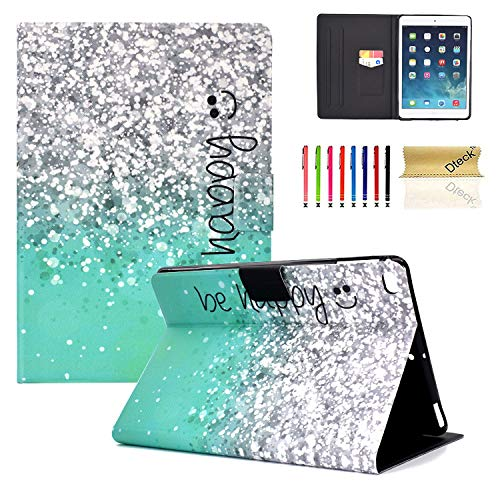 Dteck iPad 9.7 inch 2018 2017 / iPad Air 2 / iPad Air Case - Multi-Angle Viewing Folio Wallet Smart Stand Cover with Auto Wake/Sleep for Apple 9.7 inch iPad 6th / 5th Gen, iPad Air 1/2 - Be Happy