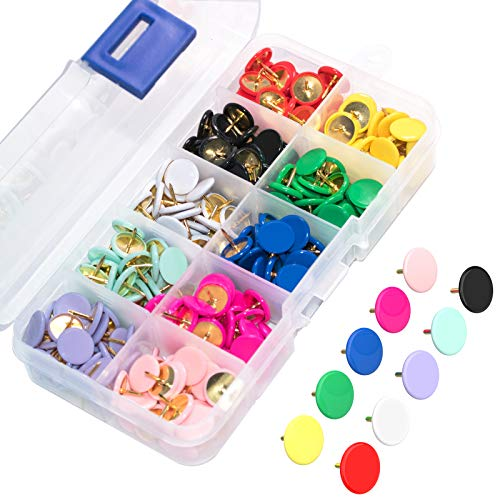 Thumb Tacks for Cork Board 300-Count, 10 Assorted Colors, Decorative Push Pins for Bulletin Board, Corkboard, Poster, Marking Maps, Notice Boards, Pictures