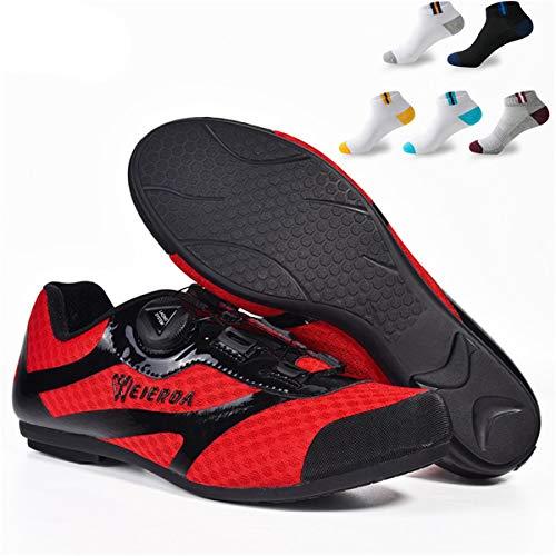 XFQ Zapatos Ciclismo Masculino, Zapatos Casuales Adultos Bike Antideslizante No Lock Transpirable Unisex De Ciclo del Camino De Los Zapatos con 5 Pares De Calcetines Deportivos,Rojo,42EU