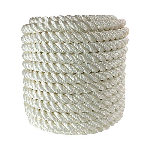 Twisted 100% Nylon Rope | 4 Stage, 3-Strand High-Strength Anchor Line, Dock Line | 3/4 inch x 600 feet