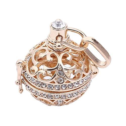 chaosong shop Exquisito colgante elegante, retro señora floral tallado CZ campanilla de armonía bola medallón llamador de ángel, para mujer, joyería dorada