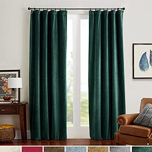 Lazzzy Blackout Velvet Curtains Green 84 inch Thermal Insulated Drapes for Dinning Room Darkening Dark Green Window Treatment Rod Pocket Home Decor Living Room Set of 2 Panels Hunter Green
