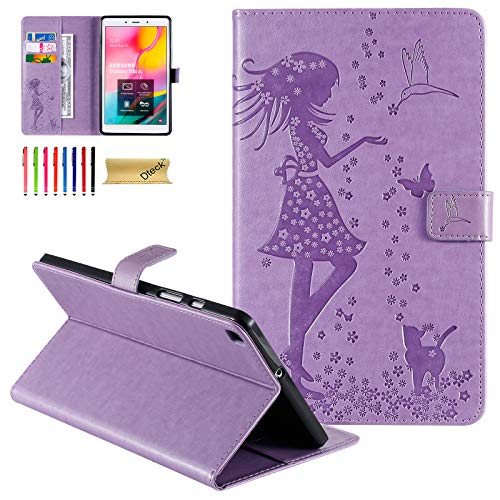 Galaxy Tab A 8.0 inch Case, T290 Case, Dteck Slim Embossed PU Leather Folio Smart Stand Wallet Cover for Samsung Galaxy Tab A 8.0 inch 2019 Release Model T290 T295 T297 Without S Pen, Purple