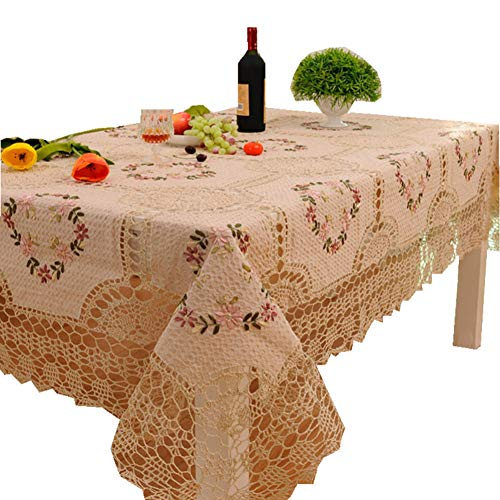 GUTONGHAO Gran Tela de Mesa de Boda Beige Flor Crochet Redonda Rectangular Mantel de Bordado Mantel de Navidad Mesa de Comedor Cubierta_140x220cm