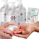 cubex professional amuchina gel igienizzante mani 500 ml disinfettante 3pz + 20 salviettine pocket igienizzanti clovy in omaggio!