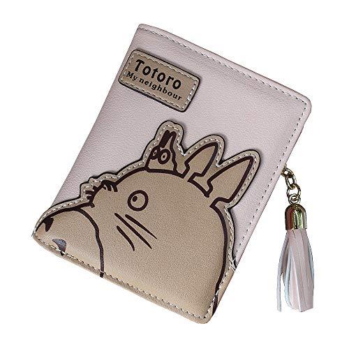 LKKOY Totoro, Damen Geldbörsen Damen Clutch Brieftasche Student Coin Purse Geldsäcke Langer/Kurzer Kartenhalter, Kurzes Grau Short Gray 11CMX10CM