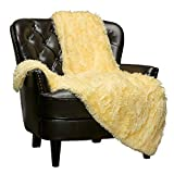 Chanasya Super Soft Fuzzy Shaggy Faux Fur Throw Blanket - Chic Design Snuggly Plush Lightweight with Fluffy Reversible Sherpa for Couch Living Room Bedroom and Home Décor (50x65 Inches) Yellow