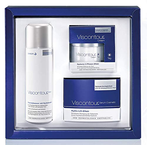 Viscontour® 3-teiliges Geschenkset (30 x 0,45 ml Serum Ampullen, 50 ml Cream Tag, 150 ml Water Thermalwasser-Aerosolspray)
