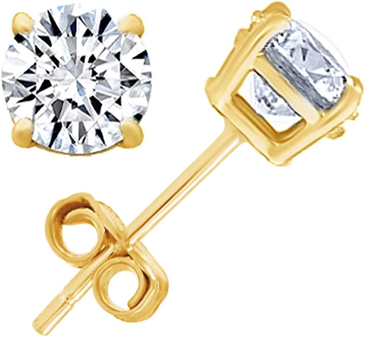 Round Natural Diamond Stud (IGI Certified 0.70 ct & up) Plus Quality Friction Back Earrings in 14k Solid Gold, 0.04 Ctw - 2.00 Ctw