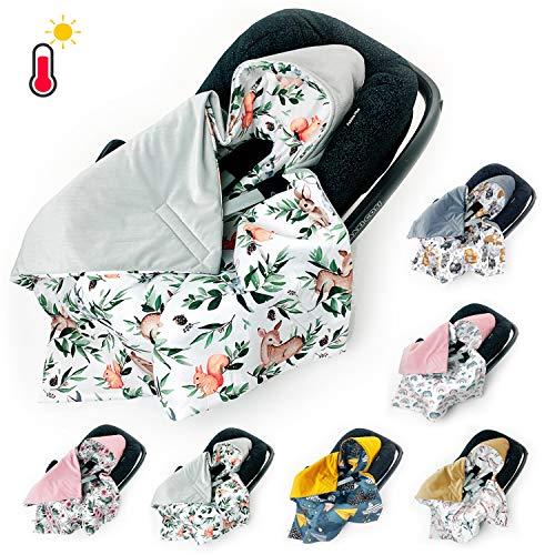 BABEES Einschlagdecke für Babyschale Autositz FRÜHLING SOMMER, Universal z.B. Maxi-Cosi Römer Cybex, Velvet Baby Decke mit Klettverschluss Babytragen leicht Übergangssaison tiere