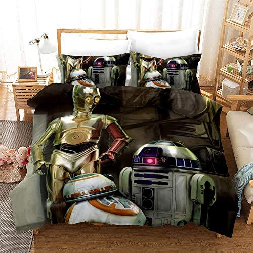 Star Wars Juego de Funda de Edredón 240x260 cm 3 Piezas Microfibra Juego de Cama con Cierre de Cremallera Incluye 1 Funda Nórdica y 2 Funda de Almohada 50x75 cm, Muy Suave