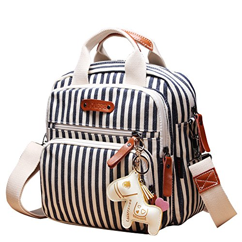 Quality Canvas Designer Organizer Mini Fashion Multi-Function Baby Nappy Changing Bag Tote Messenger Backpack-Stripes