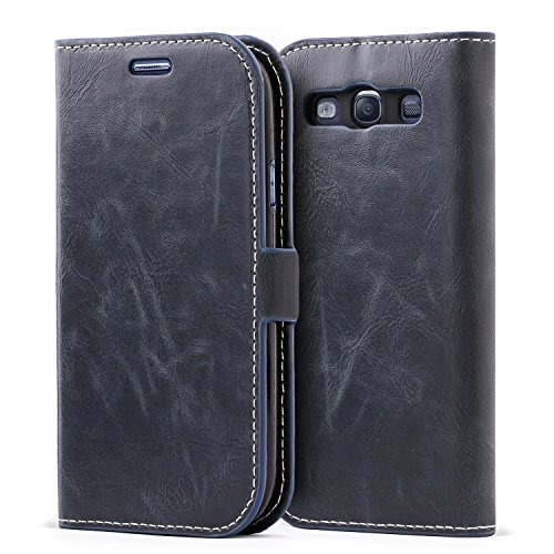 Mulbess Samsung Galaxy S3 Wallet Case, Flip Leather Phone Case with Kickstand and Card Holder for Samsung Galaxy S3 / S3 Neo Cover, Navy Blue