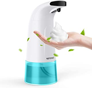 VETOMILE Automatic Soap Dispenser Touchless Foaming Liquid Soap Dispenser 280ml Capacity Infrared Sensor 3 Adjustable Dispensing Volume Hands Free Waterproof Battery Operated for Kids Bathroom Kitchen