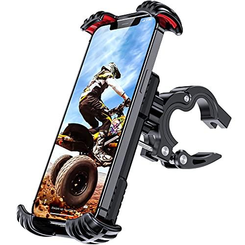 ANEMAT Suporte de celular para bicicleta – braçadeira universal para guidão de motocicleta [operação com uma mão] [rotação de 360] [antivibração] clipe para celular de scooter para smartphone de 4,7 a 7 polegadas, vermelho