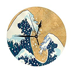 Partrest Japanese Blue and White Wave Round Wall Clock Silent Quartz Decorative Bedside Clock Decor for Home Living Room Kitchen