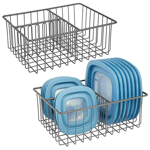 mDesign Metal Kitchen Food Storage Container Lid Holder, 3-Compartment Organizer Bin for Organization in Kitchen Cabinets, Cupboards, Pantry Shelves, Drawers - 2 Pack - Graphite Gray