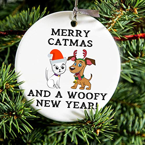 Lplpol Merry catmas and a woofy new year 2020 Ornament, Christmas 2020 Ornament, cat christmas ornament, dog christmas ornament.