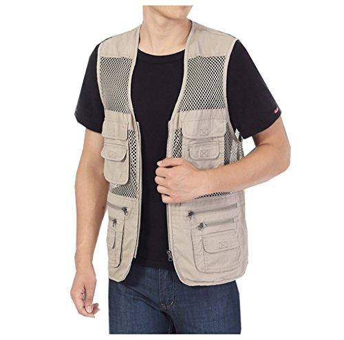 Men's Fishing Hunting Mesh Vest Photography Work Multi-pockets Outdoors Travel Journalist's Jacket (Khaki, Medium)