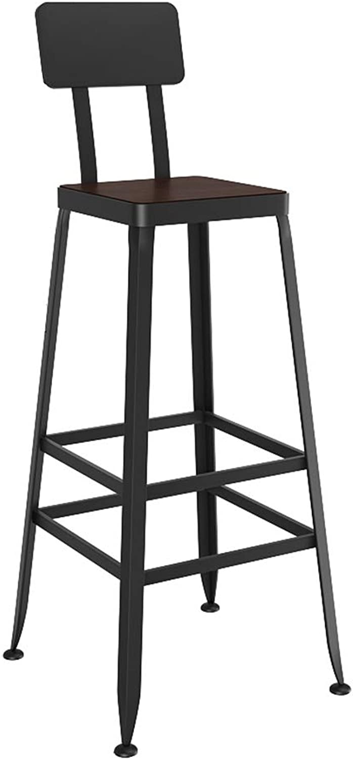 Bar Chair Retro Industrial Style High Stool Furniture Kitchen - Solid Wood PU Sponge Back (Sitting Height  75CM) (Style    1)