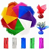 160 PCS 7.5 x 7.5 Inches Cello Wraps Cello Sheets Colored Cellophane Wrap with Twist Ties for Treats...