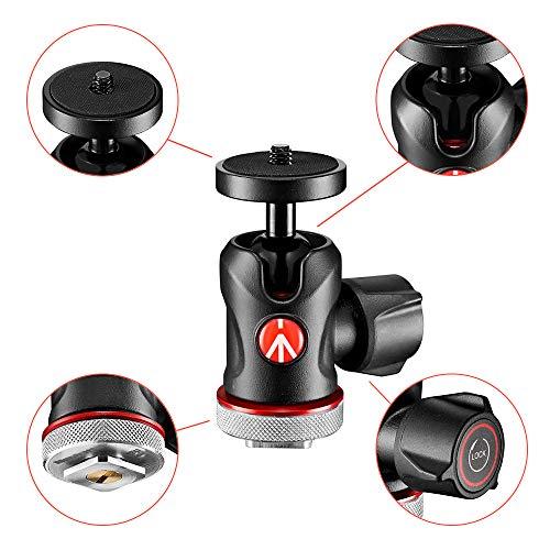 Manfrotto 492LCD Kugelkopf Micro (mit Blitzschuh für Monitor, LED, Mikrofon, Action-Kamera und Zubehör (MH492LCD; Traglast: 4 kg, Gewicht: 170g, 1/4 Zoll Gewinde und Blitzschuh an der Unterseite))