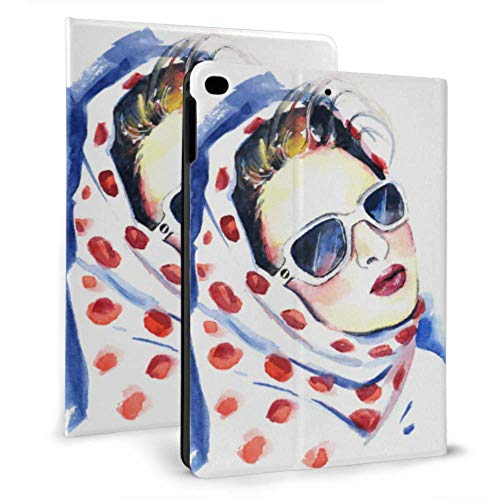 N\A Funda iPad para Hombre Cool Hip Hop Girl Camiseta a Rayas Sombrero Gafas de Sol Cool Fundas iPad para iPad Mini 4 / Mini 5/2018 6th / 2017 5th / Air/Air 2 con Estuche de protección magnética iPad