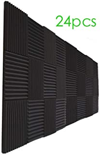 24 Pack- Charcoal Acoustic Panels Studio Foam Wedges 1
