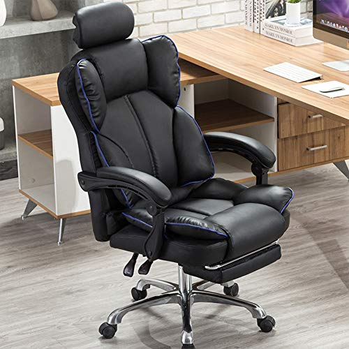 Silla Gaming, Oficina Escritorio Silla con Ruedas Sillas, PC Despacho Ergonomica Racing Chair, Sillón Reclinable Giratorio Ajustable, con reposacabezas y reposapiés,Negro