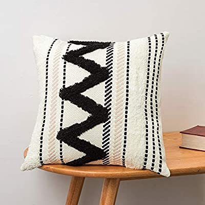 Black and White Tufted Cushion with Zigzag Pattern