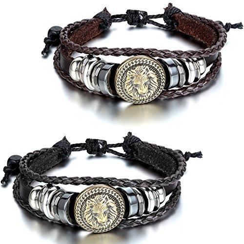 JewelryWe Schmuck 2pcs Herren Damen Armband, Punk Rock Löwe Geflochten Charm Tribal Armreif, 21-30cm Verstellbaren Größen, Leder Legierung Baumwollseil, Braun Schwarz Silber