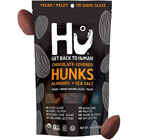 Hu Hunks Chocolate Covered Cashews and Almonds | Non-GMO, Vegan, Gluten Free, Paleo, Organic Dark Chocolate (Almonds + Sea Salt | 2 Pack)